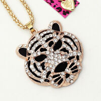 Betsey Johnson Crystal Rhinestone Tiger Head Pendant Sweater Chain Necklace Gift