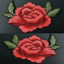 2x Red Rose Flower Embroidery Applique Cloth Sewing & Iron on Patch Badge DIY
