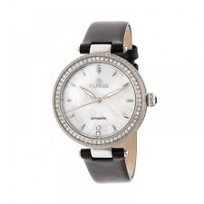 Empress Louise Women's Automatic MOP Crystal Black Leather Silver Watch EM2301