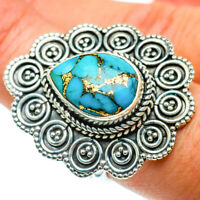 Large Blue Copper Turquoise 925 Sterling Silver Ring 8.25 Ana Co Jewelry R39570F