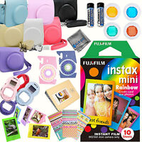 Fujifilm Instax mini 8 Film (Rainbow 10-PACK) + DELUXE Accessory KIT