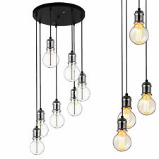 Suspensions 7-flam. Plafonnier Lampe Suspendue Rétro Luminaire Suspendu Verre