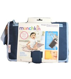 New Munchkin 11508 Portable Designer Diaper Change Kit Blue Pad Portable K