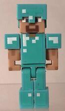 """Minecraft Diamond Steve 3"""" Mini Figure Rare Blue Armor Helmet Jazwares Overworld"""