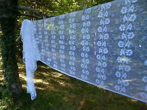 """Pretty Wide Net French Cafe Curtain Flowers  Sold by the Meter  26"""" long 66 cm"""