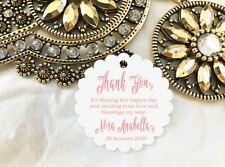 10 White Gift Tags Baptism Confirmation Christening Personalised Thank You V4