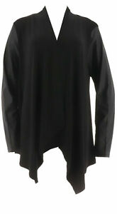 Joan Rivers Classic Luxe Drape Cardigan Faux Leather Sleeves Black S # A258259