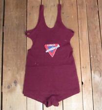Vintage 1920s Burgundy Wool Swimsuit Antique Bathing Suit Minnow Club Ymca Beach