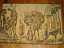 "Antique French Tapestry 24"" by 36""Scene Coming to Market Camel Palms Donkey"