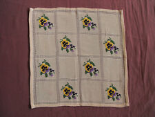 #1493  Beautiful Vintage Hand Embroidered Tablecloth  35cm/35cm(14''x14'')