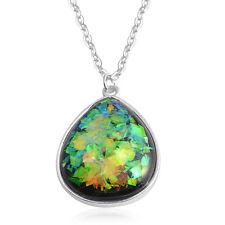 "Silvertone Pendant Necklace 18-20"" Designer Inspired Black Multi-Color Lucite"