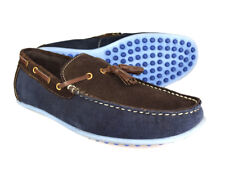 Silver Street London Thames Mens Navy / Brown Suede Boat Shoes
