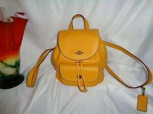 Coach C4121 Leather Pennie Backpack 22 Messenger Ochre Pebbled