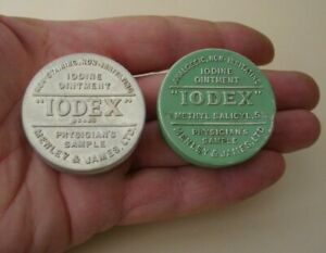 VINTAGE 2 OLD TINS IODEX IODINE OINTMENT MENLEY & JAMES LTD CHEMIST GREEN/SILVER