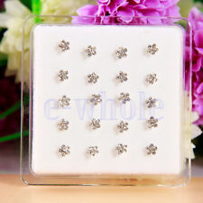 20 Nose Studs Clear Crystal Flower Nose Bars Studs Rings Box Included EW