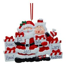 PERSONALIZED Santa & Mrs Claus with Holiday Gifts Family of 6 Christmas Ornament