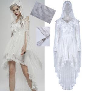 Robe mariée dentelle traîne gothique sorcière soirée capuche corset PunkRave