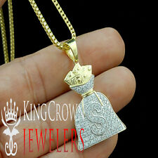 Mens 10K Yellow Gold 925 Silver Money Bag Lab Diamond Pendant Dollar Sign Charm