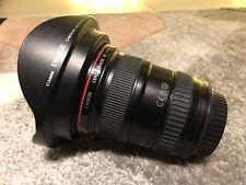 17-40mm F4 Canon EF L USM WIDE ANGLE ZOOM LENS + anteriore e posteriore Copriobiettivo Cappuccio &
