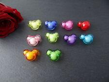 10 Acrylperlen Beads in Beads Mickey Mouse Maus Acryl Perlen farbig nach Wahl