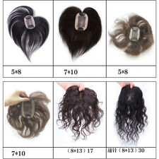17CM 100% Human Hair Top Topper Toupee Curly/Straight Hair Piece Hairpiece Clips
