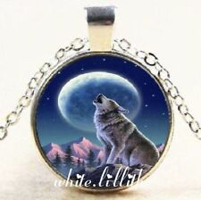 Wolf on Mountain Howling at Moon Glass Dome Pendant Silver Colour Necklace