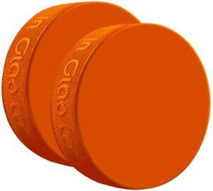 Inglasco Orange Sponge Ice Hockey Shot Blocking Training Puck (3.4oz)  2-Pack