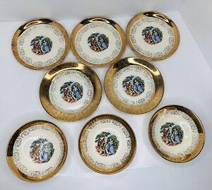 Set of 8 Sabin Crest-O-Gold 22Kt Gold Dessert Plates/Bowls Colonial Couple *READ
