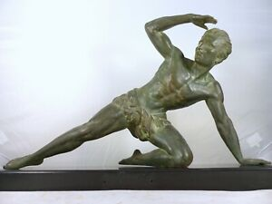 1930 Sculpture Spelter Male Figure Signed DE RONCOURT Bronze Patina ART DECO