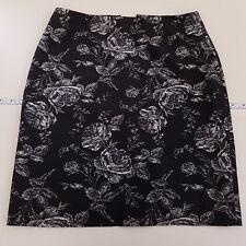 Ann Taylor 100% Silk Pencil Skirt Women's Size 6 Floral Black White