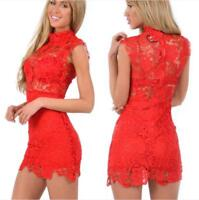 Sexy Women's Bandage Bodycon Lace Evening Party Cocktail Summer Mini Dress UK