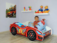 Boys Racing Car Bed RED, Toddler Bed with mattress (140x70) for Kids + Pillow