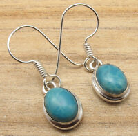 925 Silver Plated Simulated LARIMAR Art Earrings ! ! Price Start From $0.99