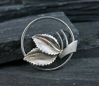 925 Sterling Silver LEAF Leaves Art Deco Design Autumn Fall Theme Pin Brooch