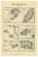 Channel Islands Jersey Isle of Man Scilly illustrated map Fullarton ca.1872