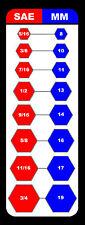 SAE METRIC WRENCH INTERCHANGE MAGNETIC CHART TOOL BOX SHOP GARAGE