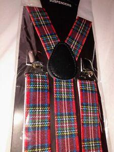 Red Tartan Braces. Adult plaid suspenders