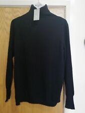 Pure Collection Cashmere Boyfriend Polo Neck Sweater -Black  -UK 14  RRP £170