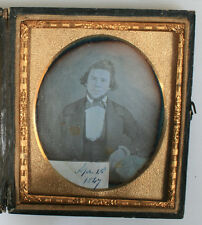 DAGUERREOTYPE PORTRAIT MAN, TINTED. SIXTH PLATE FULL CASE. DATED APRIL, 1847.