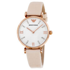 Emporio Armani AR1927 White / Pale Pink Leather Analog Quartz Women's Watch