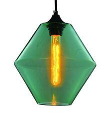 Modern Retro Industrial Light Green Diamond Pendant Light Ceiling Lamp Shade