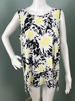 NWT Women's Vince Camuto Black/Yellow Floral Sleeveless Blouse Top Sz Large