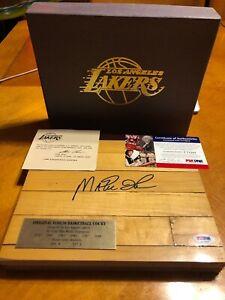 Signed MAGIC JOHNSON LA LAKERS GAME USED FORUM FLOOR Floorboard PSA/DNA COA