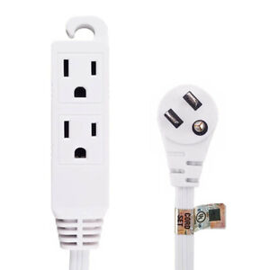 6ft 3-Outlet 3-Prong FLAT ANGLED Power Extension Cord (NEMA 5-15P)  White