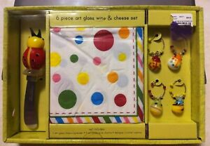 Art Glass Wine Cheese Set Lady Bugs Wine Charms Cheese Spreader Napkins SEALED