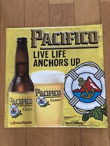 """NEW 17"""" X 17"""" Pacifico """"Live Life Anchors Up"""" Embossed Tin Tacker Beer Sign"""
