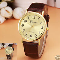 Geneva Retro Women's Leather Band Watches Ladies Analog Quartz Gold Wrist Watch