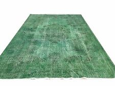 "9'9"" x 6'2"" Vintage  EMERALD GREEN  oushak overdyed rug carpet  tapis teppich"