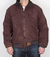 "Carhartt Coat Workwear bomber Jacket Red Brown XL 44"" 46""  (J4N)"