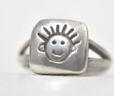 Smiley Face Band Happy Face Ring Pinky Vintage Sterling Silver Children Size 5.2
